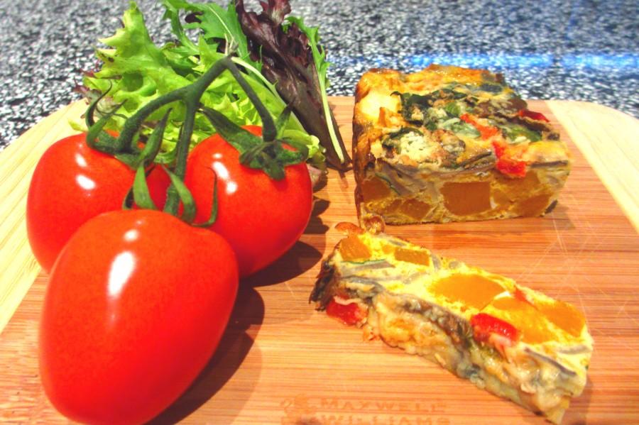 Zucchini, Haloumi, Bacon & Vegetarian Frittata (GlutenFree)