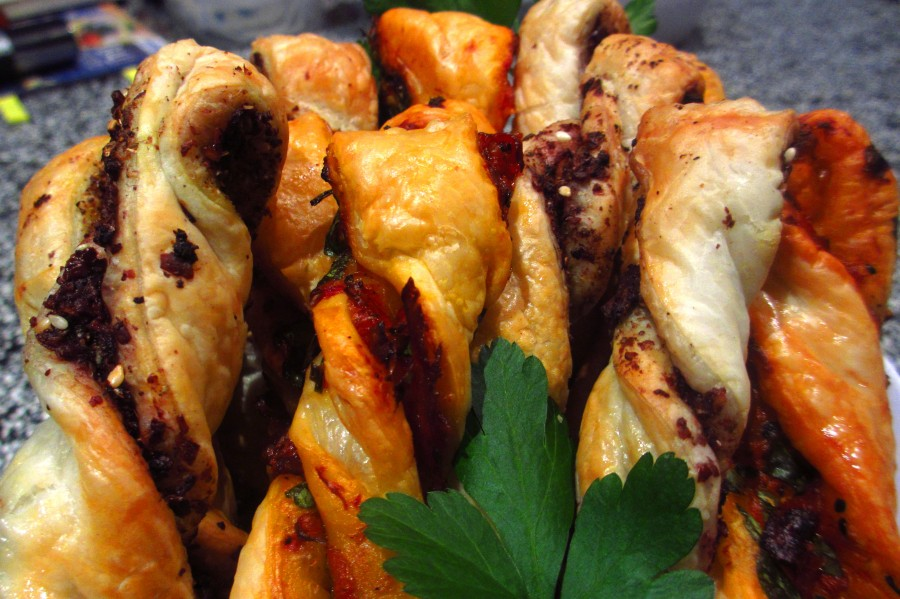 Pastry Twists (Olive Paste &Mediterranean)