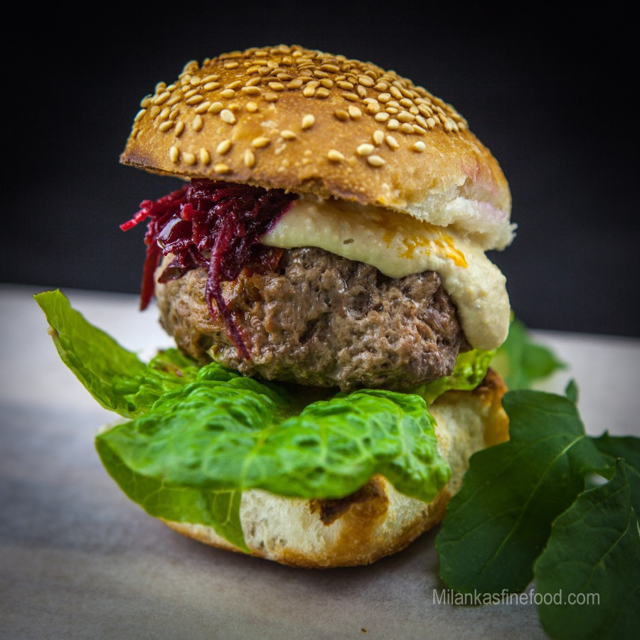 Beef Burgers (With Hummus & BeetrootJam)