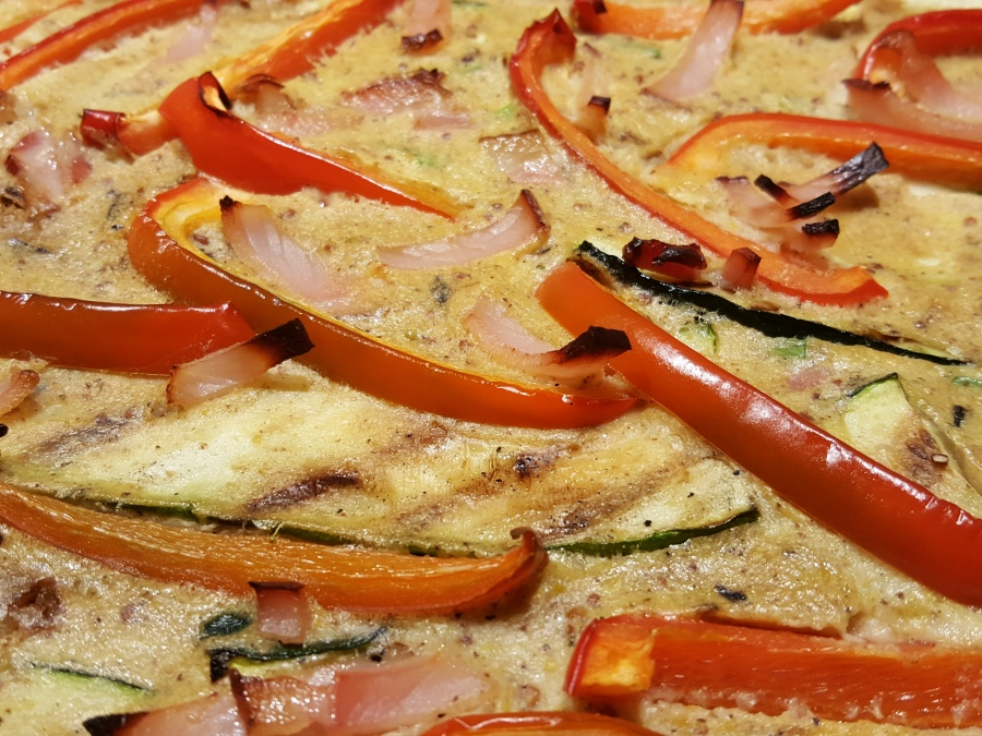 Smoky Bacon, Pepper, Courgette & Spring OnionClafoutis